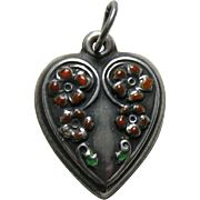 Vintage Orange Enameled Cascading Flowers Sterling Heart Charm