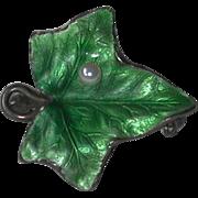 Vintage Enamel Leaf and Pearl Sterling Brooch