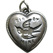"Vintage Rebus Birdy Mine ""Aunt Louise"" Sterling Heart Charm"