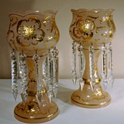 Pair of Table or Mantel Lusters in Pink Glass