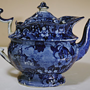 Large 19th Century Dark Blue Staffordshire Teapot