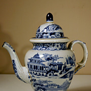 Large 19th Century Staffordshire Coffee Pot in Blue Transfer