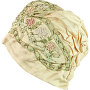 Silk Embroidered  Child's or Large Doll Hat 1890-1920