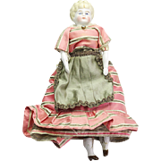 Small Antique Circa 1890 Bisque Molded Hair Doll