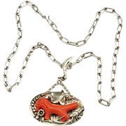 Rare German Arts and Crafts 900 Silver and Coral Pendant