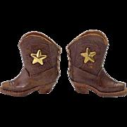 Vintage Miniature Leather Cowboy Boots