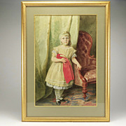 Lovely Antique Watercolor of Child and Doll-Eugen Klimsch1876