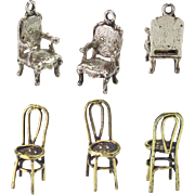 Two Tiny Antique Miniature Chairs