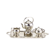 Vintage Miniature Sterling Silver Tea Set on Tray with Teapot on Stand