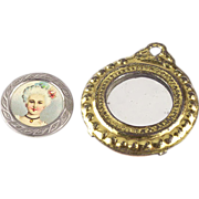 Brass Mirror and Small Picture of Lady for Doll House
