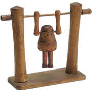 Vintage Japanese Wooden Spinning Acrobat Toy