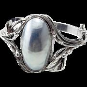 Vintage Sterling Silver and Mother of Pearl  Bracelet