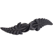 Whitby Jet Carved Brooch