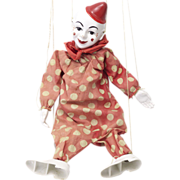 Vintage Hard Plastic and Cloth Clown Puppet