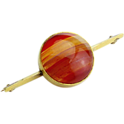 Vintage Agate and Gold Plated Bar Brooch