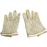Antique White Leather Doll Gloves