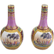 Wonderful Pair of Antique Royal Vienna Hand Painted Miniature Vases.