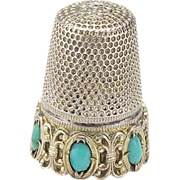 Vintage Silver and Turquoise Thimble