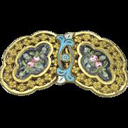 Vintage Brass and Enamel Belt Buckle
