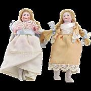 Pair of Antique Bisque Dollhouse Dolls