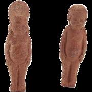 Pair of Vintage Brown Bisque Native American Dolls