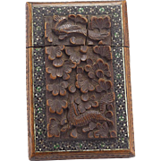 Vintage Wood and Mosaic Indian Card Case