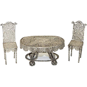 Elaborate Antique Silver Filigree Doll House Table and Chairs