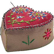Vintage Silk Embroidered Heart Shaped Pin Cushion