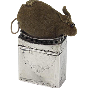 Rare Silver Stuffed Mouse Pincushion