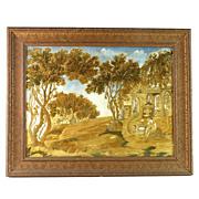 Antique Circa 1820 Georgian Memorial Silk Embroidery