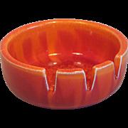 California Original Porcelain Ashtray in Brilliant Tie Dyed Orange 1960's