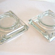 Cut Glass Ashtray/Coaster Combo Set of Two 1950's