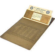 PURE Oil Products Steel Clipboard with Perpetual Calendar 1959