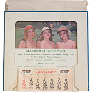 Cheesecake Desk Calender with Three Lady Golfers 1966