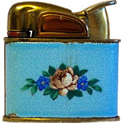 1950's Evans Petite Pocket Lighter in Blue Floral Enameled Pattern