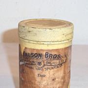 SOLD Vintage Willson Bros. Druggist Pharmaceutical Tin Dated 1939