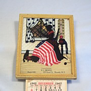 Reverse Painting Silhouette Advertisement- Betsy Ross with Flag and Calendar 1942