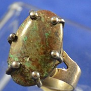 Old Pawn Mexico Sterling Silver Ring with Prong Set Oval Turquoise Signed