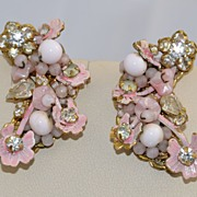 Vintage Signed Robert Pink Floral and White Glass Bead Earrings with Filigree