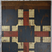 REDUCED Antique Hand Painted American Wooden Game Board Parcheesi Primitive Folk Art