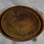 Antique Shaker Wood Dough Bowl Set Rustic Primitive Americana