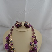 Vintage Costume Jewelry  by Vendome Parure Purple Set Earrings & Necklace Signed