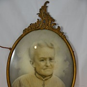 """Convex Bubble Glass Brass Frame of Portrait of Woman """"Granny"""" Ancestral Art"""