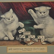 Framed Currier & Ives Color Lithograph My Little White Kittens - Playing Dominoes