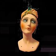 German Deco Papier Mache Flapper Head