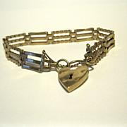 SOLD 9K English Gate Bracelet, Heart Padlock