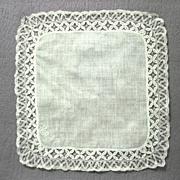 Vintage Wedding Handkerchief, hand made Lace