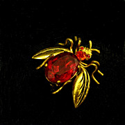 Vintage Czech Fly/Insect Pin, Ruby Red