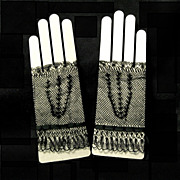 Period Victorian Fingerless Fishnet Lace Gloves