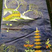 Hand Embroidered Silk Oriental Panel, Vintage